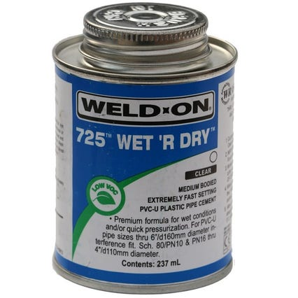 Solvent Weld Glue Wet R Dry Fast Cure
